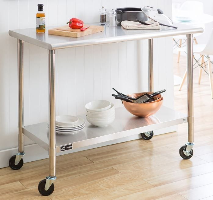 Stainless Steel Table Prep Kitchen Work Rolling Cart Island Mobile Utility Shelf Business