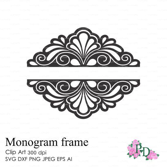 Split wedding monogram frames 300 dpi (svg, dxf, ai, eps, png ...