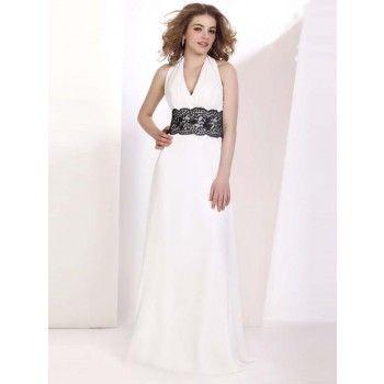 elegante neckholder abendkleider für mollige lang mit spitze  abendkleid