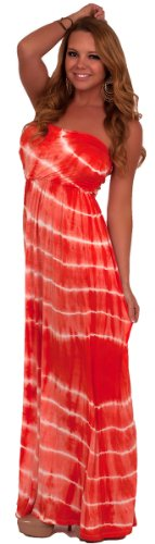 Strapless Tie Dye Printed Ruched Empire Waist Full Length Maxi Summer Sun Dress