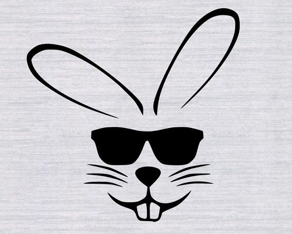 23b79670604 Easter Bunny with sunglasses SVG cutting by RelentlessmediaArt ...