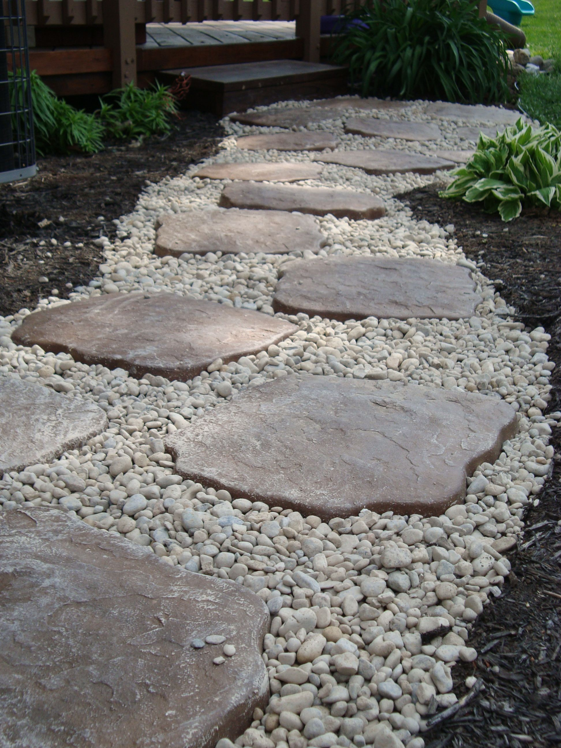 Landscaping i did diy use edging to contain small river for How to build a river rock patio