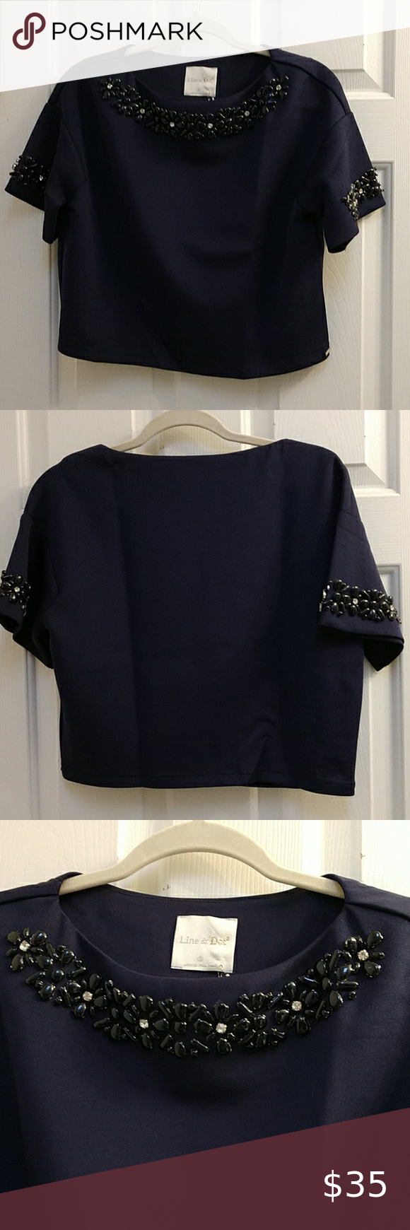 Photo of NWT Line & Dot Navy flower beaded crop style top New With Ta…