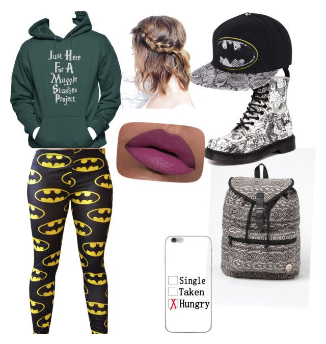 """""""Back to school"""" by youngfashiondesigner ❤ liked on Polyvore featuring Roxy, Dr. Martens and LORAC"""