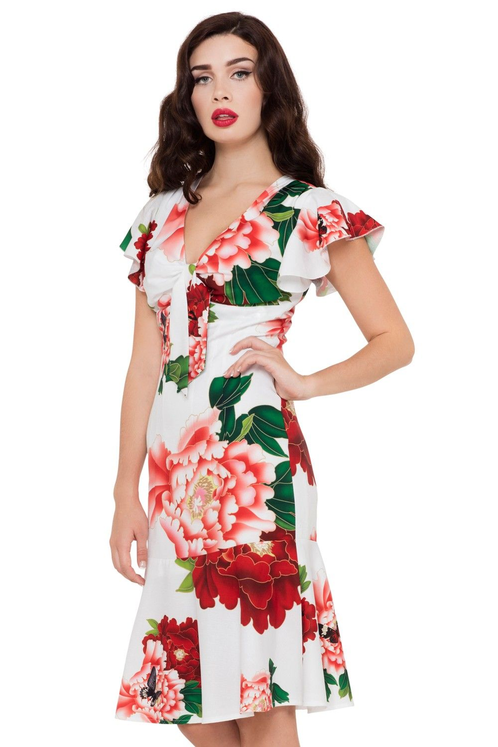 Myrna Red and White Floral Dress - Dresses - Dresses & Jumpsuits