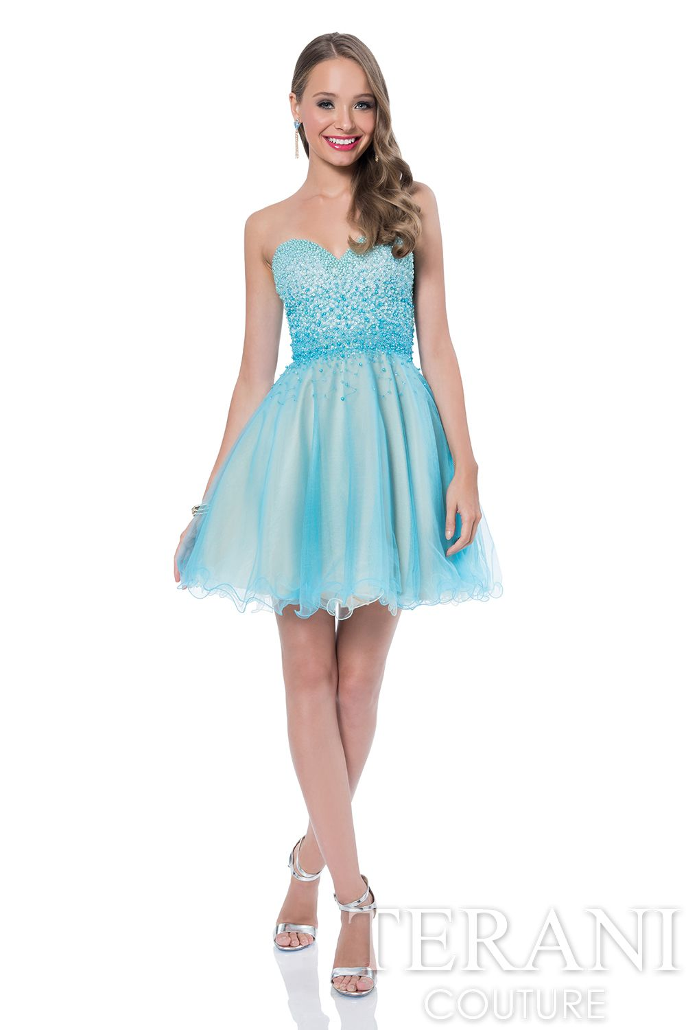 Sweetheart party dress with beaded hombre embellishments on the ...
