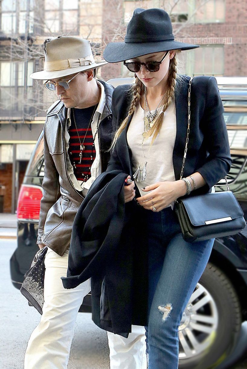 Amber Heard wears James Jeans while out with Johnny Depp in NYC - Click now to steal her style!