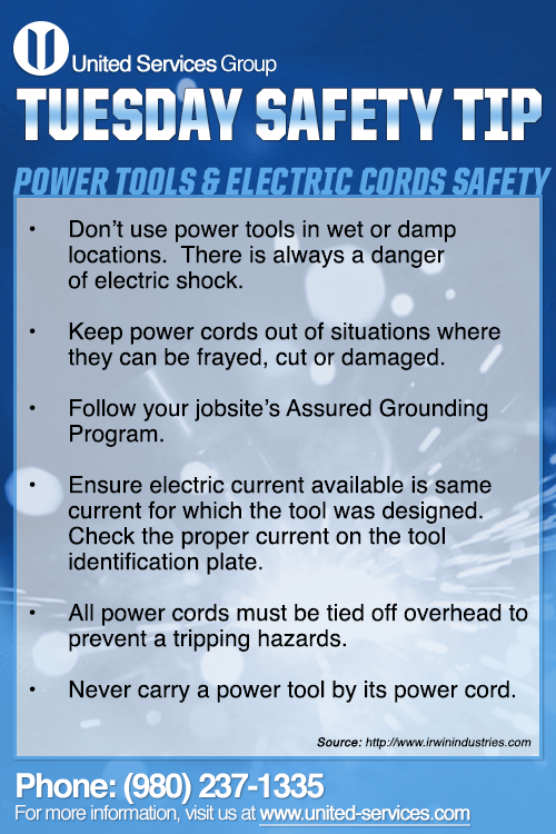This week's Tuesday Safety Tip is about Power Tools and