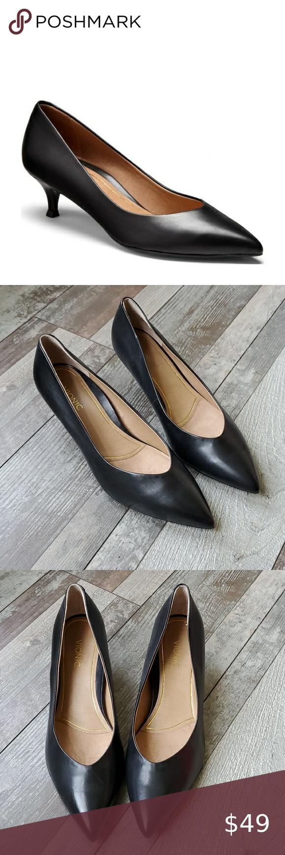 Vionic Josie Kitten Heels In Black Size 8 5 In 2020 Kitten Heels Heels Shoes Women Heels
