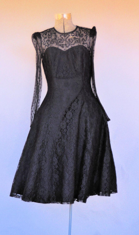 Vintage us little black lace prom dress pinterest lace prom