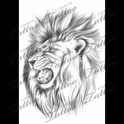 Roaring Lion Head Tattoo Designs