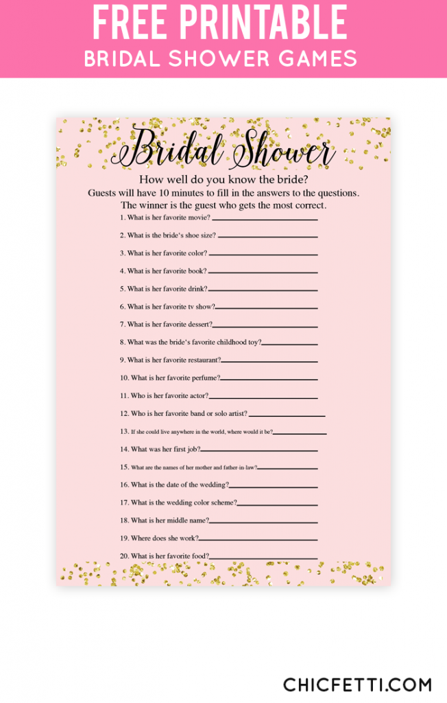 picture about How Well Do You Know the Bride Printable identify Blush and Confetti How Perfectly Do Your self Notice The Bride Sport
