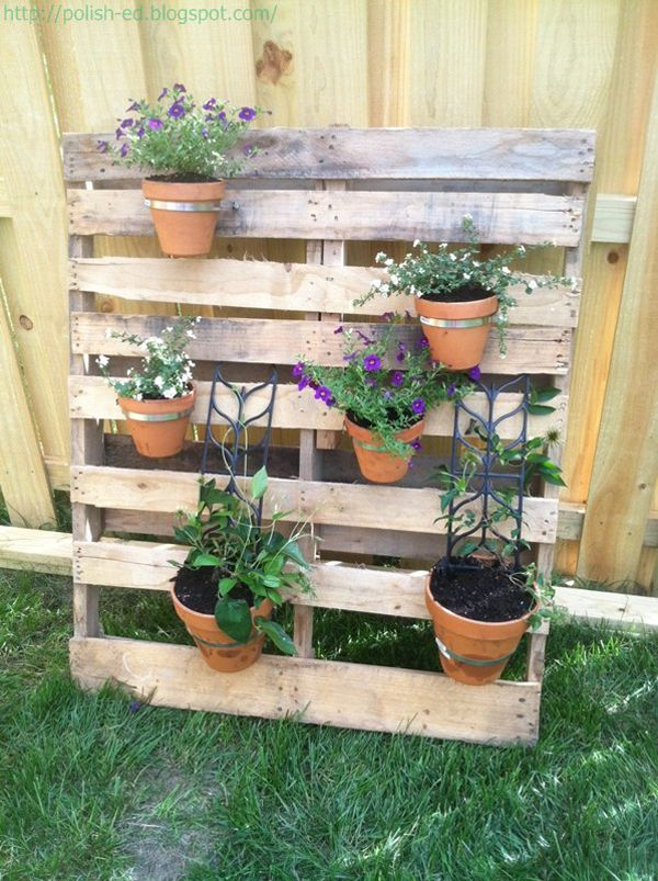 Pallet Planter Part - 19: Finished Pallet Planter With Clay Pots
