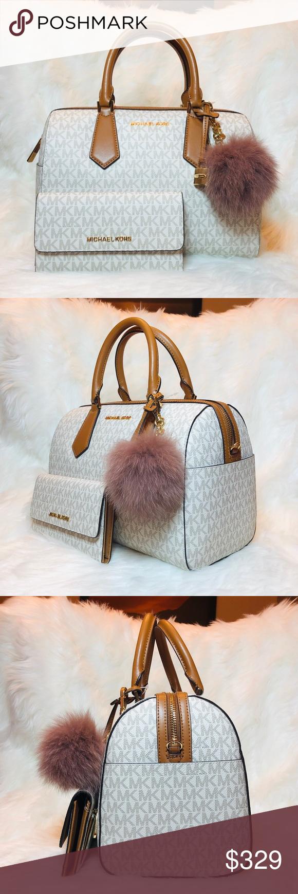 44287f80ec3d 3PCS Michael Kors Hayes Duffle Bag Wallet Charms Michael Kors Hayes large  duffle bag vanilla acorn