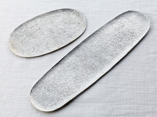 "Pure tin rectangular plate Large & Small - ""cracked ice"" by NOUSAKU"