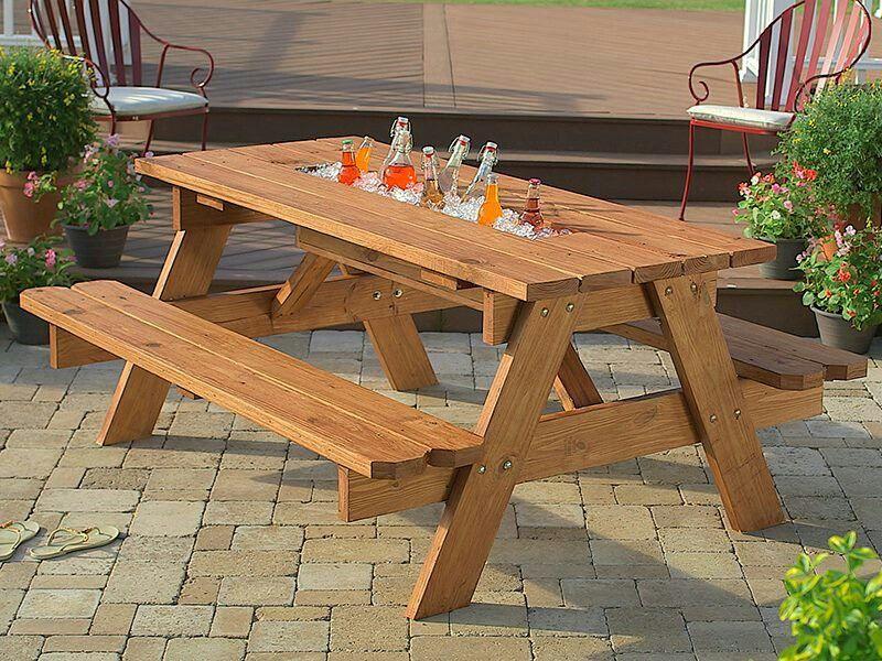 Diy Built In Cooler Picnic Table Diy Diy Picnic Table