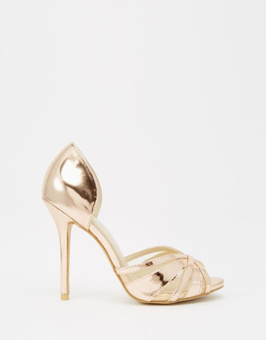 rose gold open toe sandals
