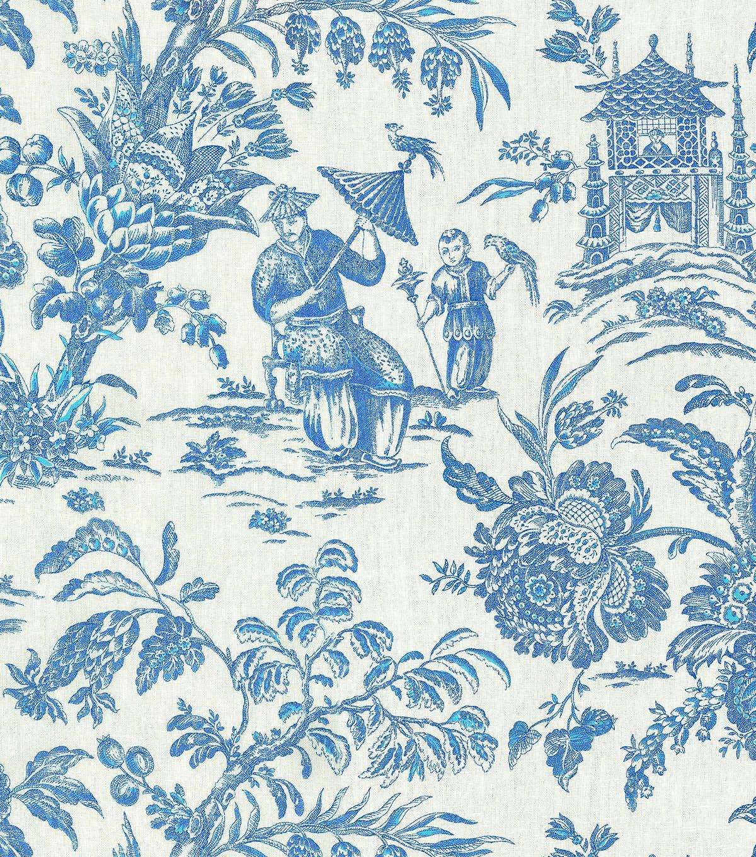 "p/k lifestyles print fabric 54""-asian arcadia/sapphire | fabrics"