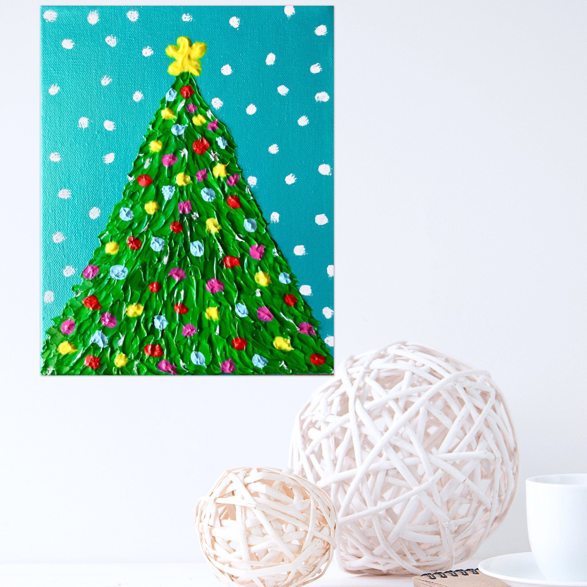 Textured christmas tree painting art team etsy group board