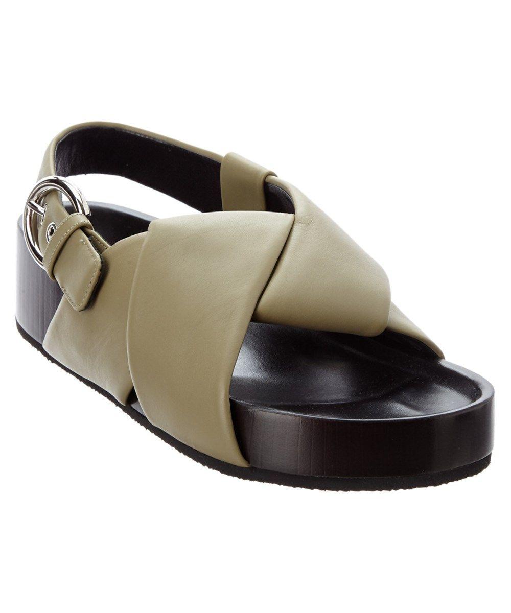 Céline Slingback Leather Sandals websites sale online ZITFbC907