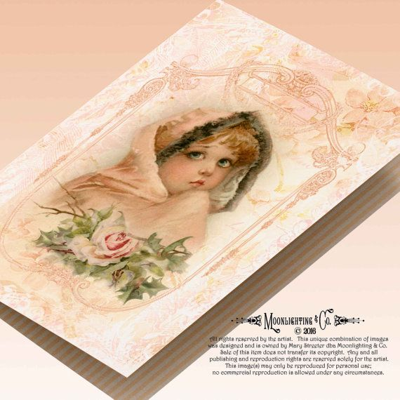 CARD VICTORIAN GIRL - Vintage Printable Digital Greeting Cards Labels Stickers 102gc