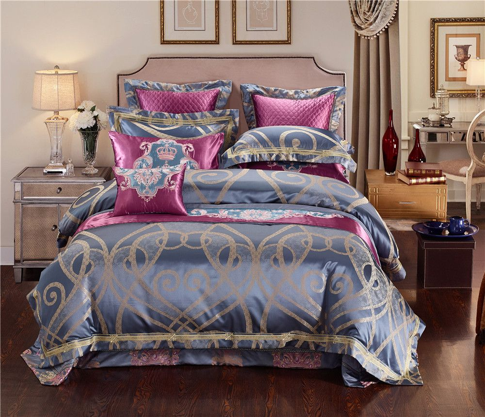 Blue Golden Luxury Silk Jacquard Royal Bedding Sets Queen King Size