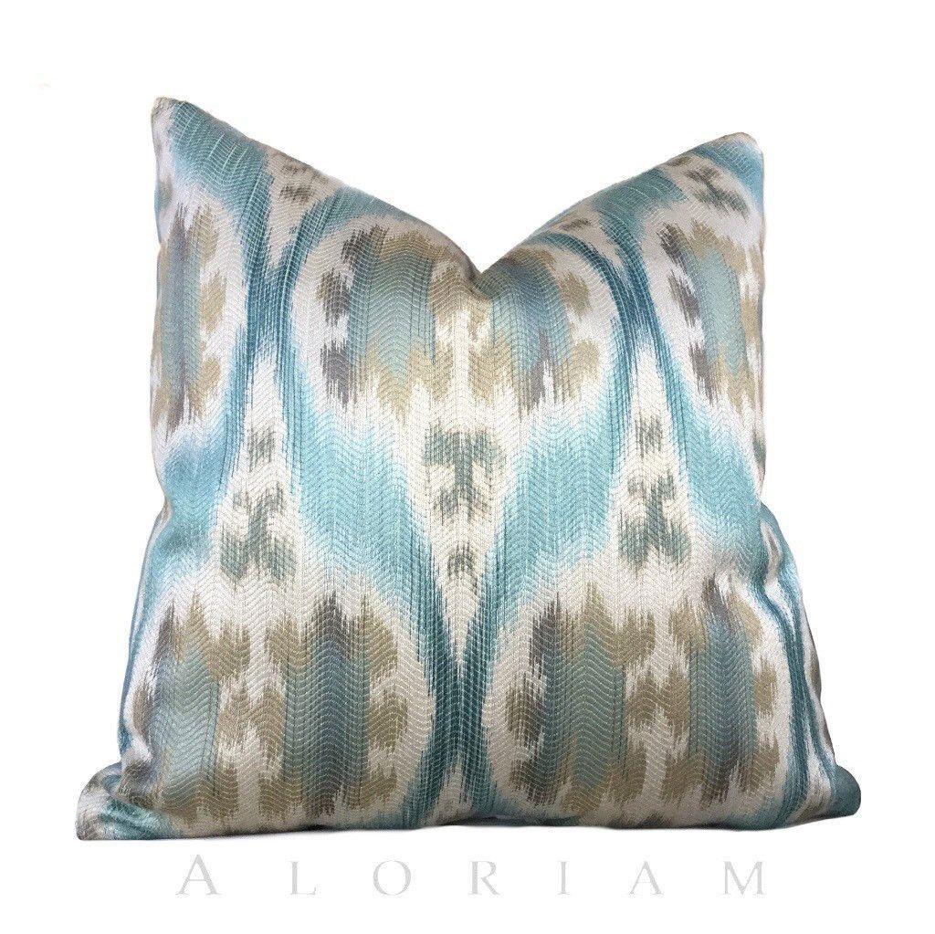 Kravet ikat southwest motif aqua blue beige pillow