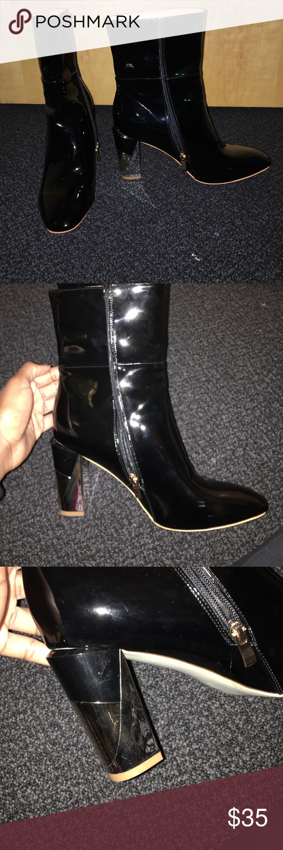 Ego Official Faux Patent Leather Boots Black patent leather! Size 10 US/ 8 UK but fits like a 9. They run small! Heel is black, silver and gold. Heel height I would say is about 4 inches. Easy to walk in! Never worn out! Ego Official Shoes Heeled Boots