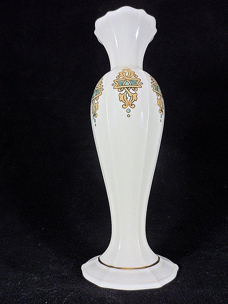 Lenox Bud Vase Catalan Pattern Gold Trim Porcelain 8 High Vintage