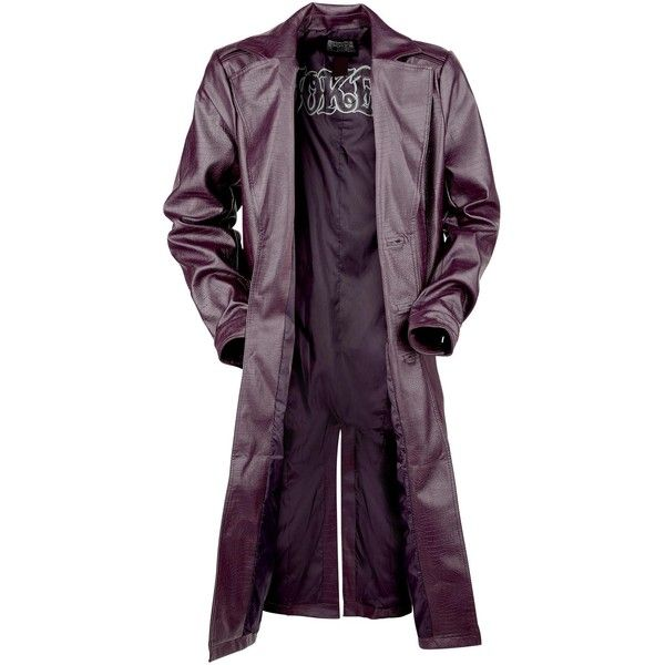 The Joker Crocodile Coat (145 AUD) ❤ liked on Polyvore featuring outerwear, coats, purple coat, trench coat, crocodile coat and purple trench coat