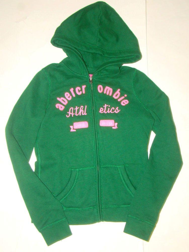 e868fda6a Abercrombie   Fitch Kid Green Pink Hoodie Hooded Sweatshirt Zip Up ...