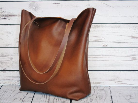 Cognac leather tote real leather shopper by FidelioBags on Etsy