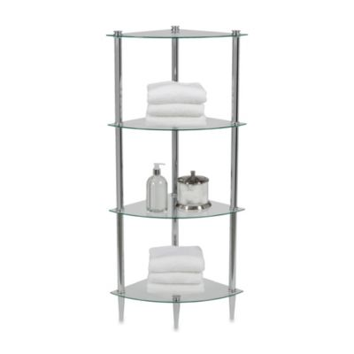 Buy Creative Bath L\'Etager 4-Shelf Glass Corner Tower in Chrome from ...