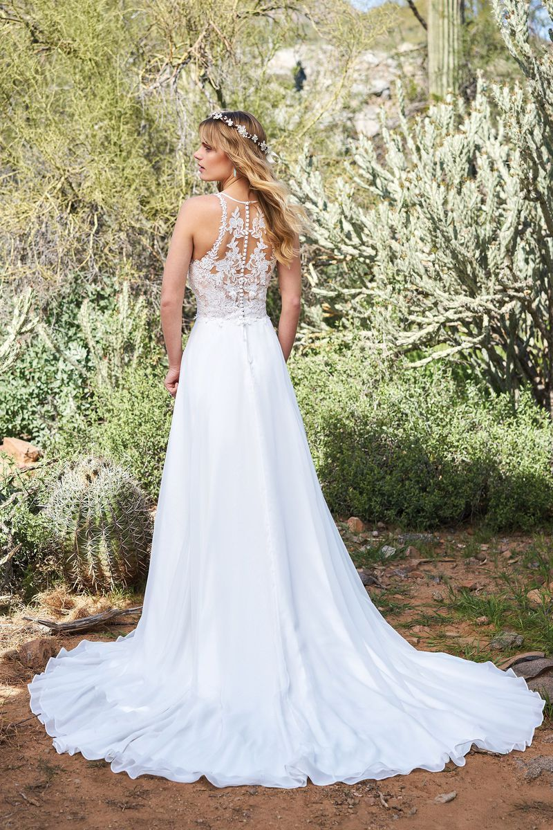 Lillian west style chiffon aline gown with racerback and