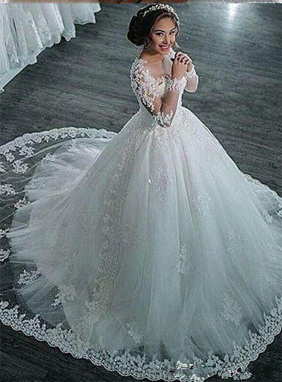 Modest Muslim Wedding Dress Long Sleeves | Just Like A Princess ...