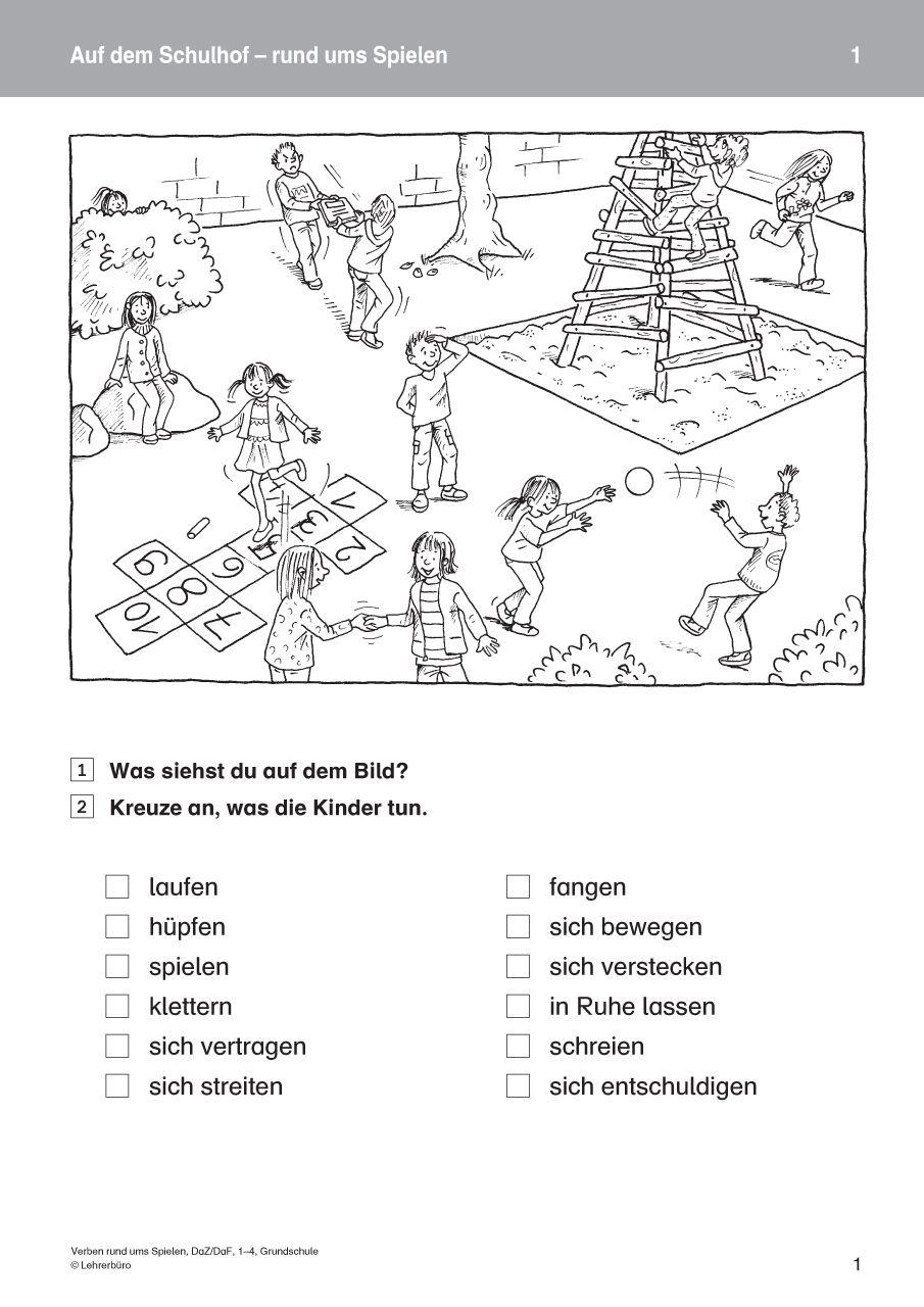 Verben Rund Ums Spielen Daz Daf 1 4 Grund Webcover Jpg 905 1280 Grundschule Verben Daf