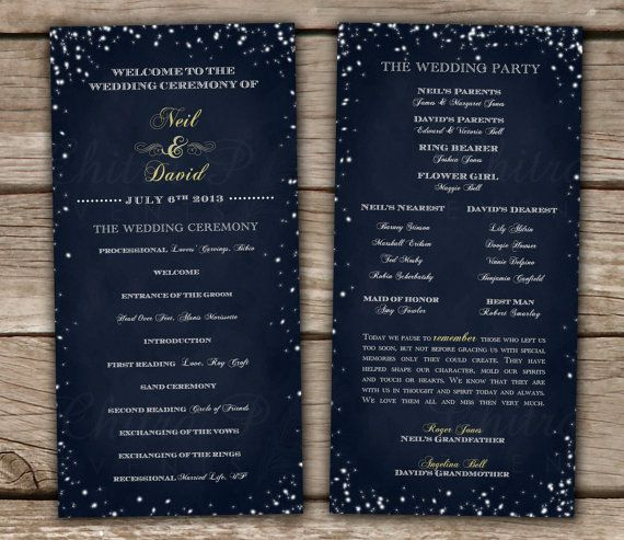 Starry Night Chalkboard Wedding Programs - DIY, Printable, Invitation, RSVP, Midnight blue