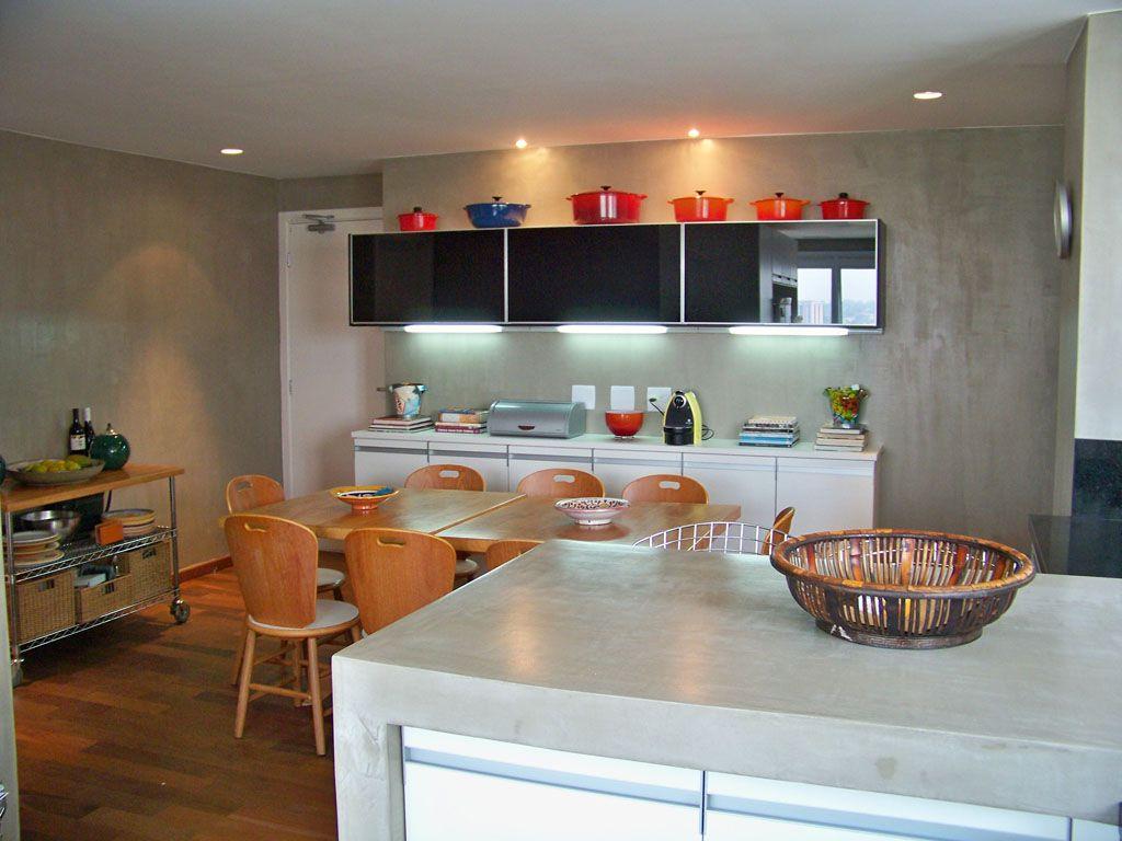 Foto Cimento Queimado Parede Cozinha 04 Pasta De Objetos De  ~ Bancada Divisoria Sala Cozinha