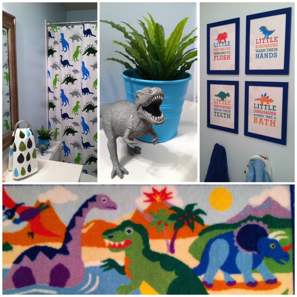 Dinosaur Bathroom I Put Together For My 3 Yr Old Son Who Said It Has To Have Blue Paint On The Walls With Little Boy Bathroom Bathroom Kids Kids Bedroom Space