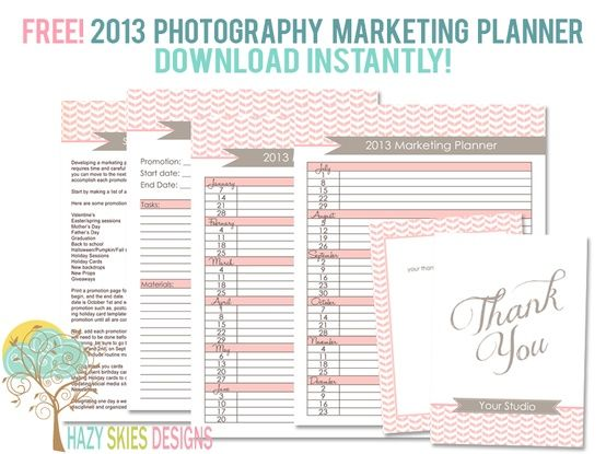 November Freebie! Photography Marketing Planner \ Client Thank You - photography storyboard template