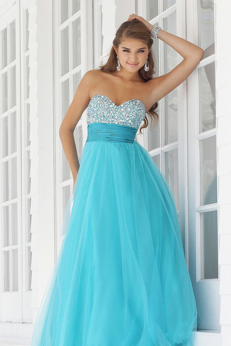 Traditional prom dresses a line sweetheart floor length tulle