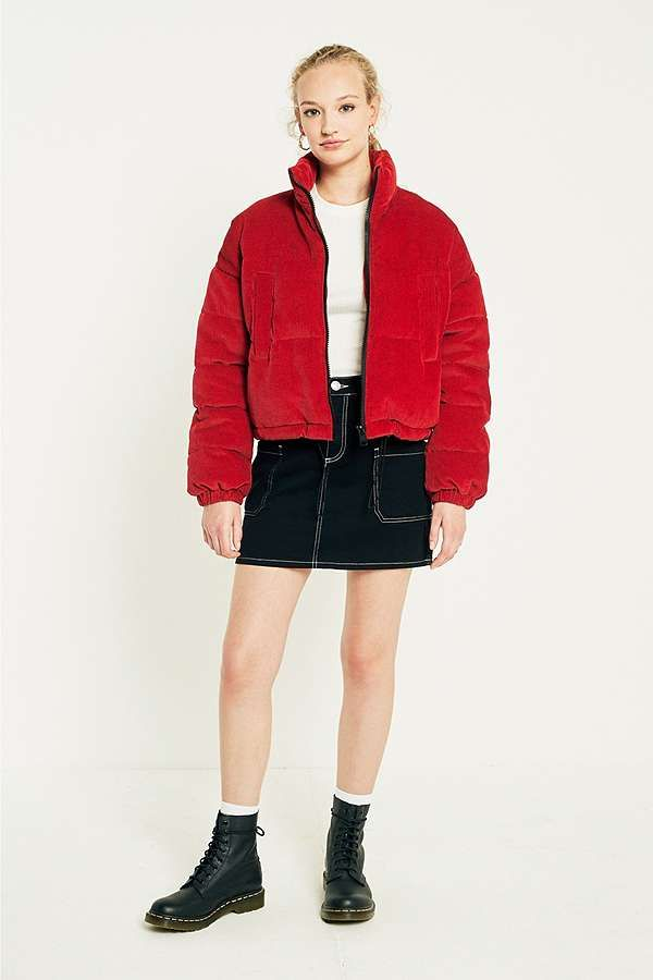 Light Before Dark Red Corduroy Cropped Puffer Jacket ...