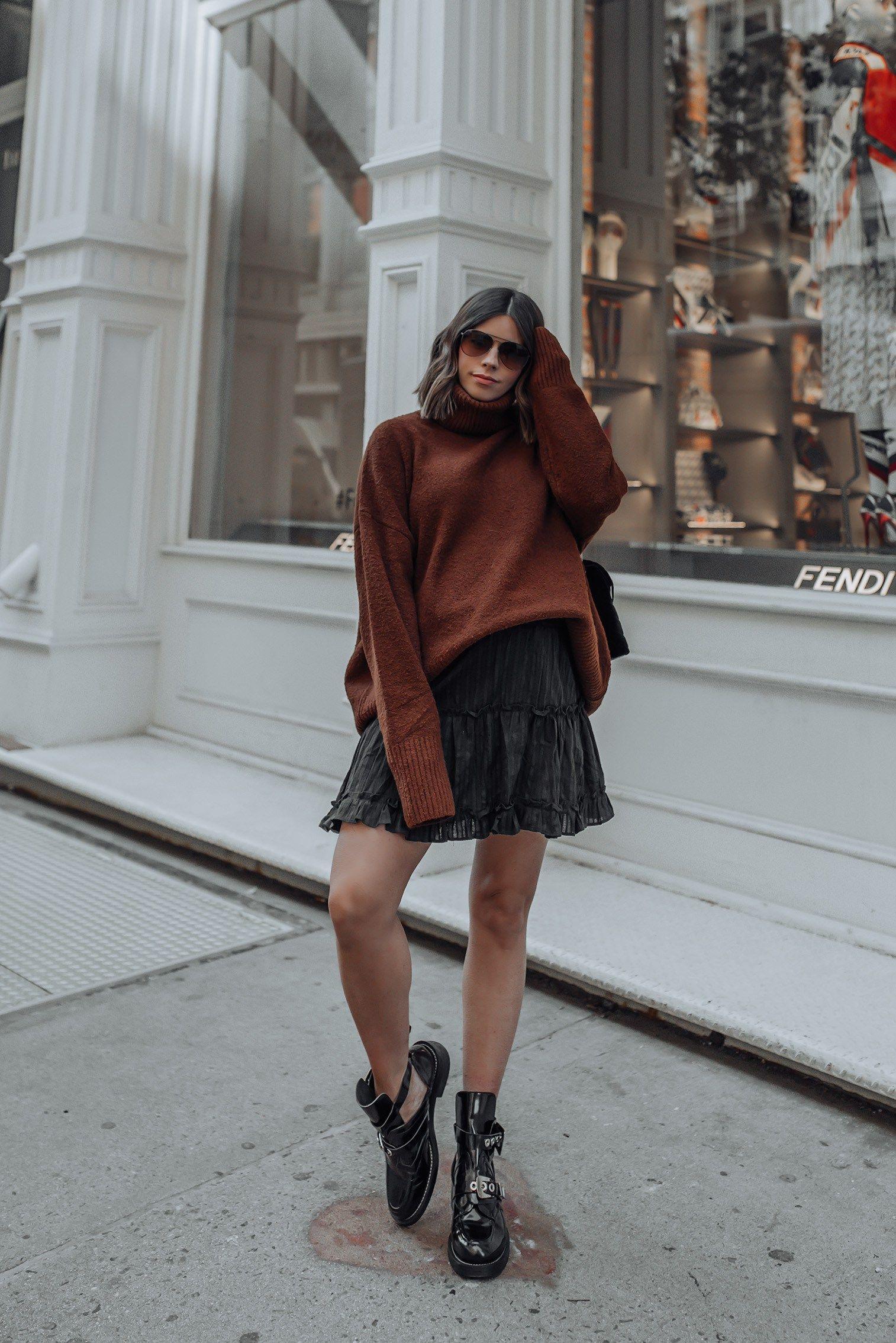 1c49176af Oversized Sweater | Black Mini Skirt | YSL LouLou in Velvet | #streetstyle  #ysl #nycblog #sohonyc #liketkit