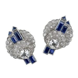 Art Deco Diamond Sapphire and Platinum Earrings, circa 1925 by shauna