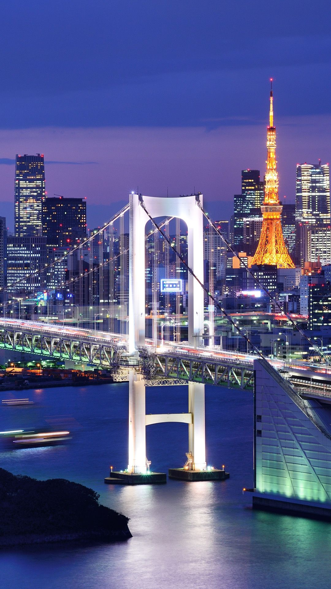Yokohama Bridge Night iphone 6 plus wallpaper Tokyo