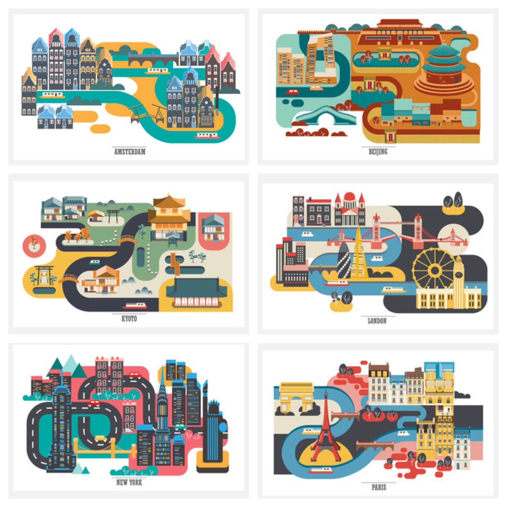 Pop art cartoon cities