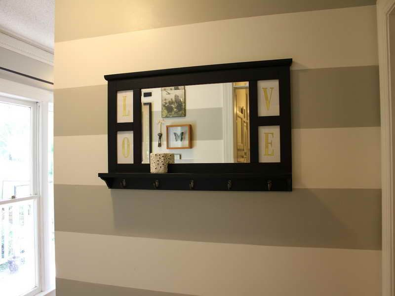 Easy entryway mirror with hooks hallway decorating ideas for Hallway mirror and shelf