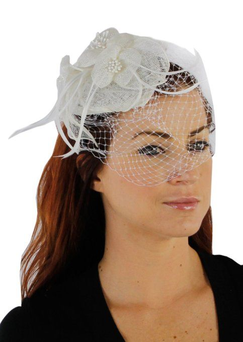 3c56b093b2102 Amazon.com: Charisma Sinamay Fascinator Cocktail Hat with Headband ...