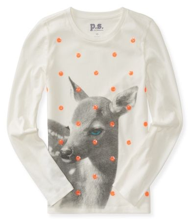 Kids' Long Sleeve Fawn Graphic T
