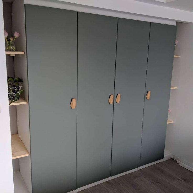 Built In Pax Wardrobe Reinsvoll Grey Green Door Bamboo Nobs
